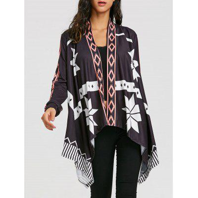 Asymmetrical Printed Open Front Cardigan