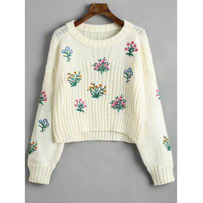 Crew Neck Flower Patched Sweater