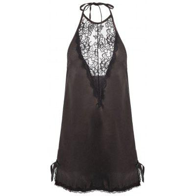 Lace Insert Backless Halter Babydoll