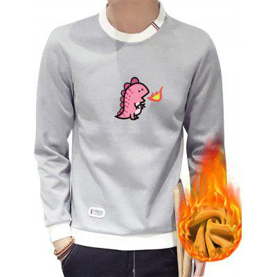 Crew Neck Cartoon Print Flocking Sweatshirt