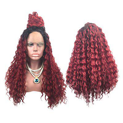 Long Side Parting Colormix Shaggy Deep Wave Lace Front Synthetic Wig