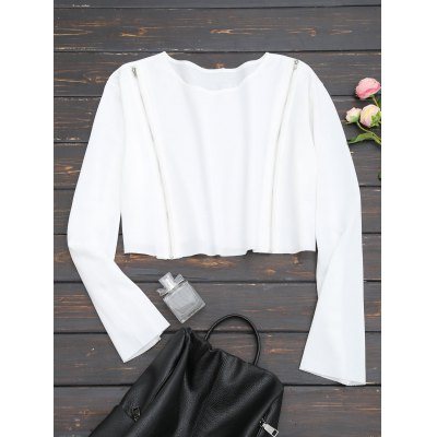 Zippered Front Cropped Sweatshirt