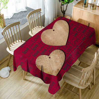 Valentine's Day Hearts Love Letter Print Waterproof Table Cloth