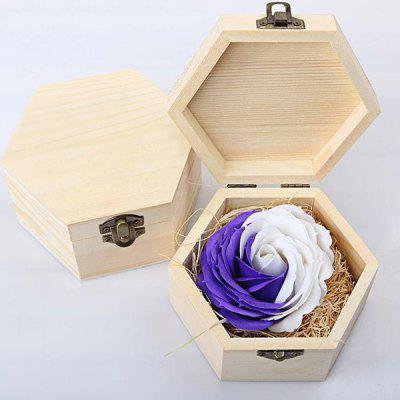Hand-made Rose Soap Scented Carving Gift-set In Decorative Wood Case
