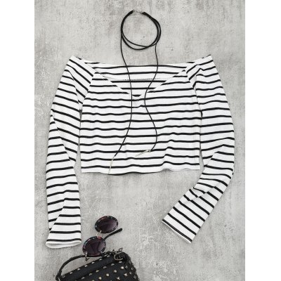 Off Shoulder Striped Knitted Cropped Top