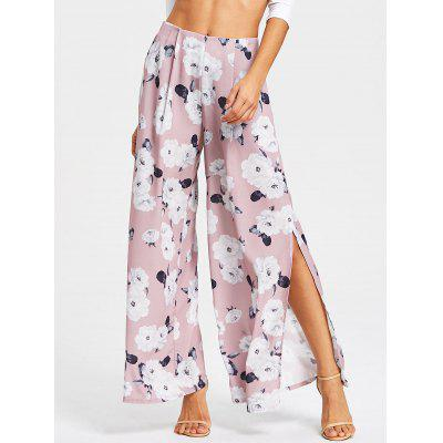 Buy PALE PINKISH GREY L Floral Print High Slit Wide Leg Pants for $20.27 in GearBest store