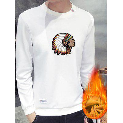 Crew Neck Native American Print Flocking Sweatshirt ������������