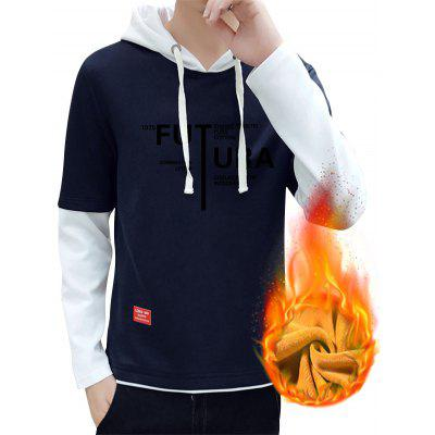 Graphic Print Flocking Faux Twinset Pullover Hoodie