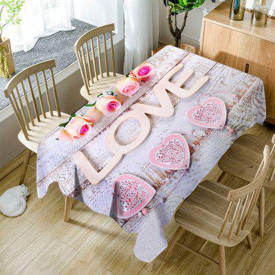 Saint-Valentin Roses Love Hearts Pattern étanche tissu de table