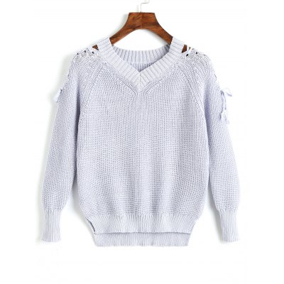 Lace Up V Neck Raglan Sleeve Sweater
