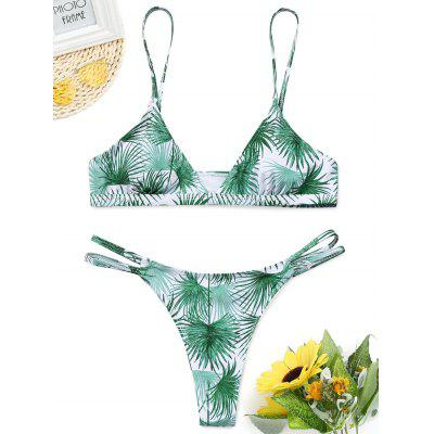 Leaf Print Cut Out Thong Bathing Suit
