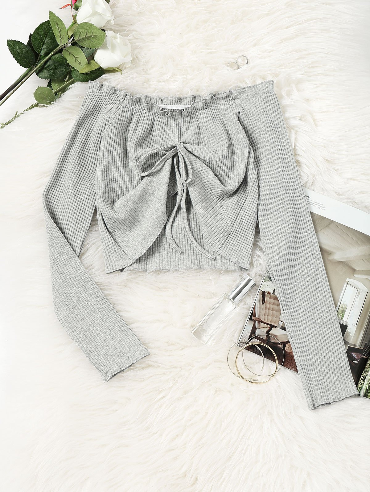 Off Shoulder Draped Knitted Cropped Top