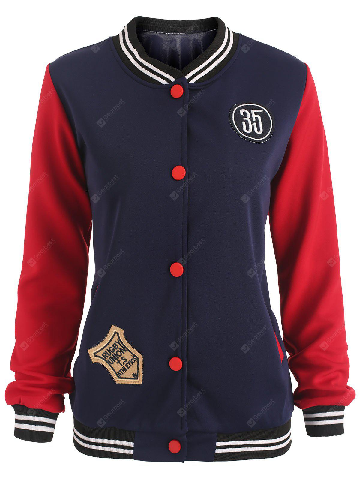 Patches Buttoned Baseball Jacket