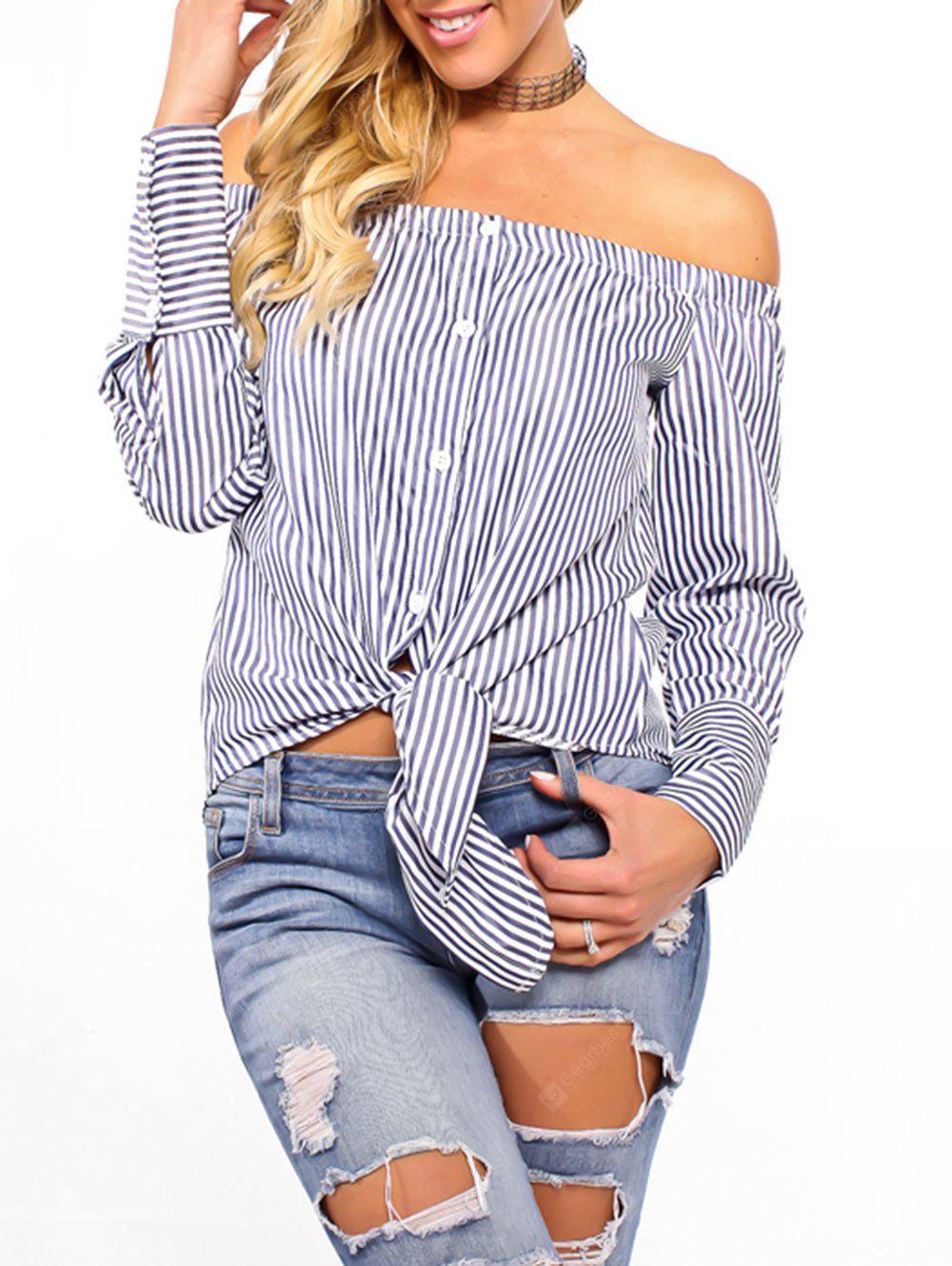 Tie Up Striped Off The Shoulder Blouse
