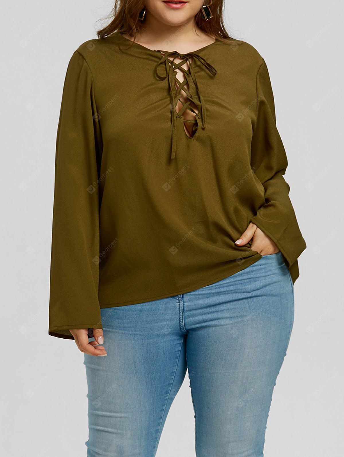 Plus Size Lattice Low Cut Blouse
