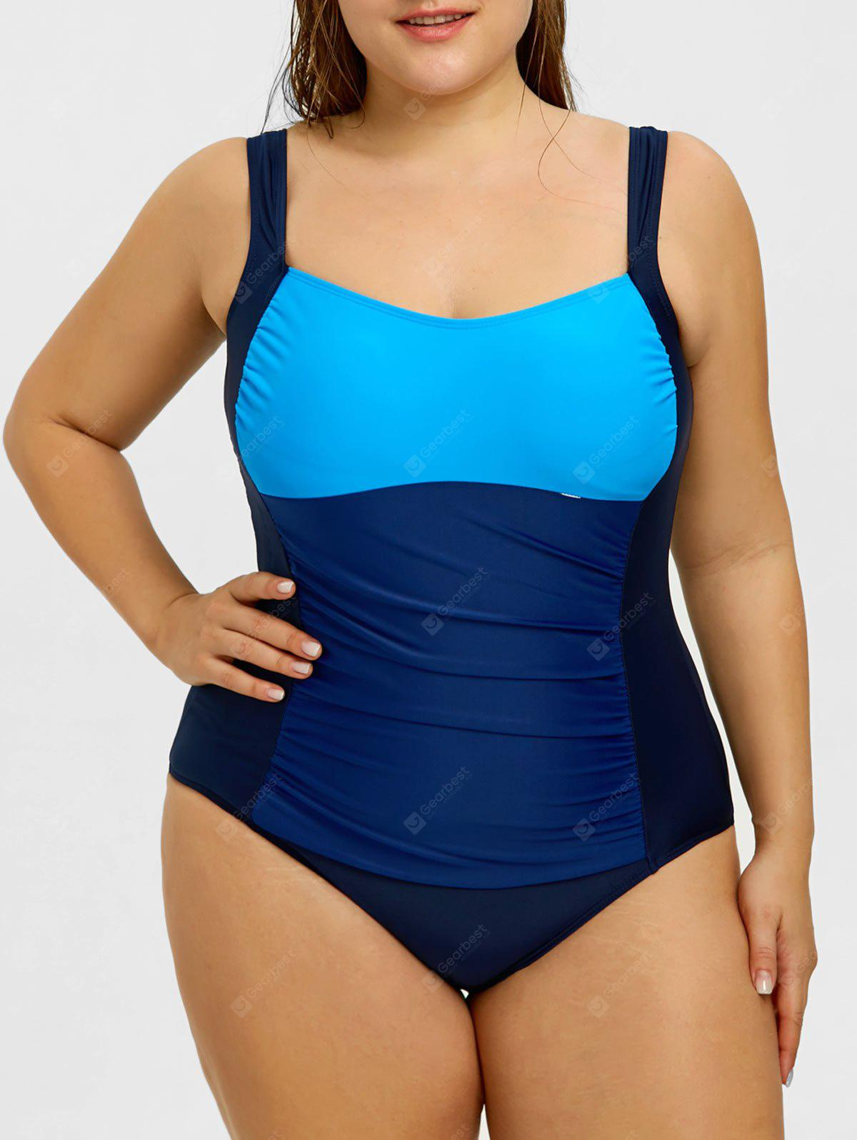 Plus Size Color Block Ruched One Piece Swimsuit