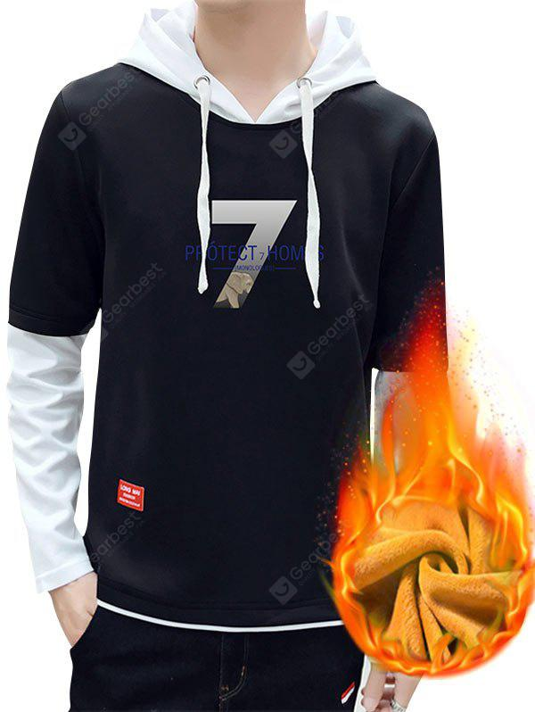 7 Print Flocking Faux Twinset Pullover Hoodie