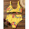 Floral Insect Print Tie Knot Bikini - YELLOW