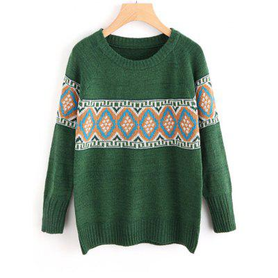 Geometric Graphic Crew Neck Sweater
