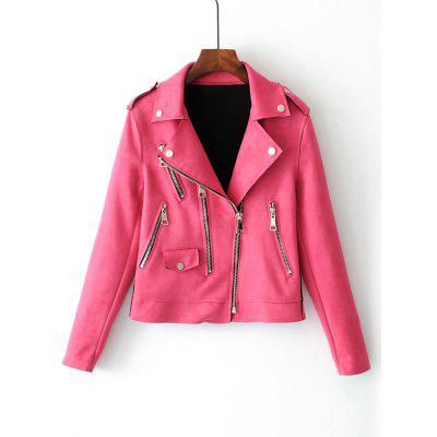 Faux Suede Zip Up Motorcycle Jacket