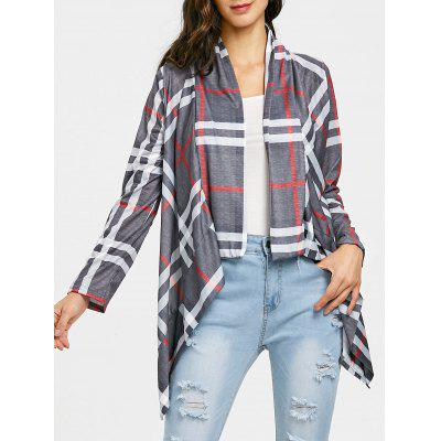 Draped Front Plaid Elbow Patch Cardigan
