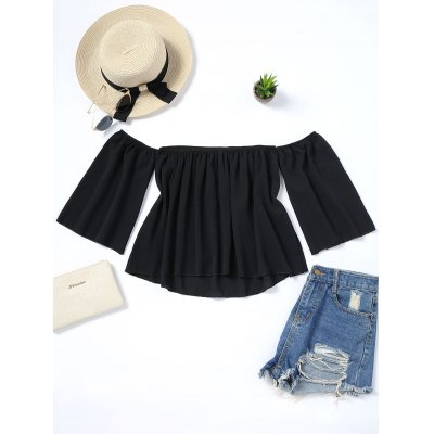 Off Shoulder Piped Loose Blouse