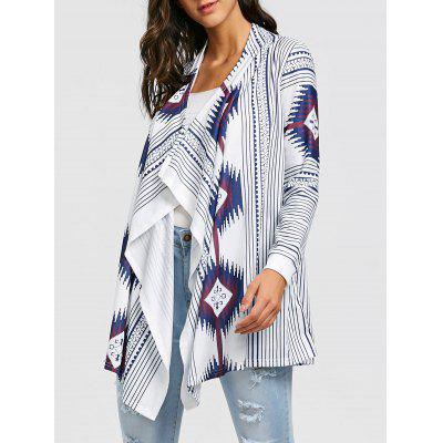Stripe Tribal Print Draped Tunic Cardigan