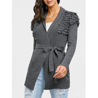 Collarless Wrap Ribbed Cardigan