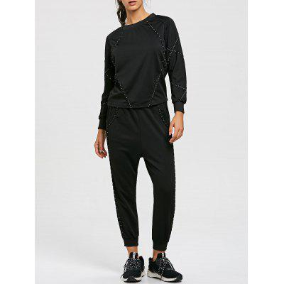 Raglan Sleeve Sweatshirt e Drawstring Jogger Pants Suit