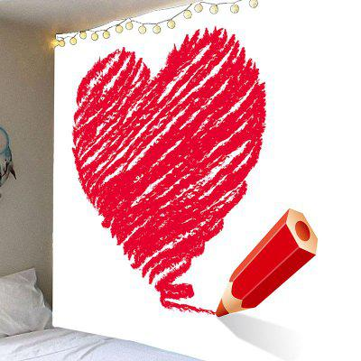 Valentine's Day Crayon Heart Printed Wall Tapestry
