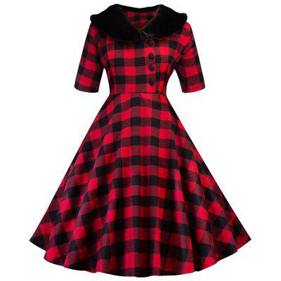 Vintage Plaid Fit and Flare Dress