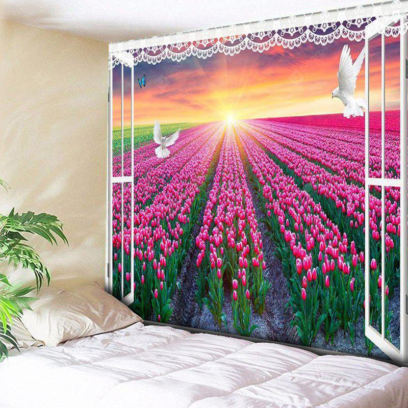 Window Scenery Wall Hanging Flower Field Print Tapestry