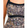 Plus Size Tribal Tankini Top and Skirt Set - BLACK