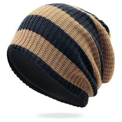 Striped Pattern Embellished Crochet Knitted Beanie