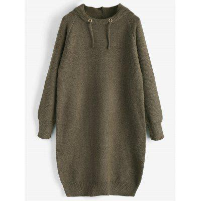Buy OLIVE GREEN Hooded Knitted Dress for $41.36 in GearBest store