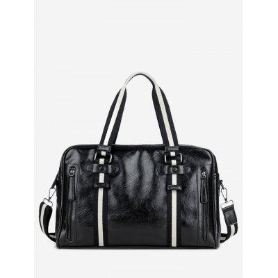 Striped Color Block PU Leather Gym Bag