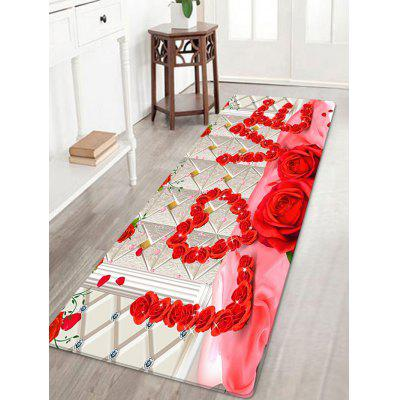 Giorno di San Valentino Roses Love Pattern Water Absorption Area Rug