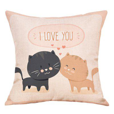 Cats Lovers Print Valentine's Day Linen Pillowcase