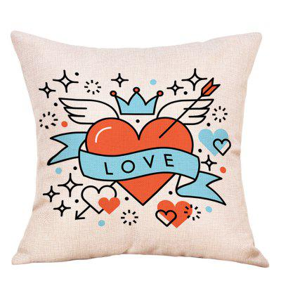 Hearts Wings Print Valentine's Day Linen Pillowcase