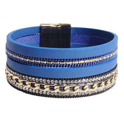 Bracciale multistrato a catena in ecopelle strass