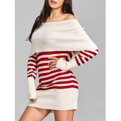 Off The Shoulder Striped Longline Sweater