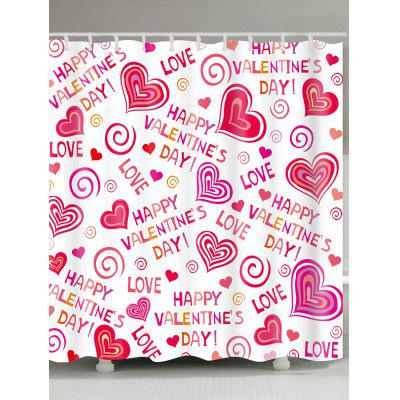 Love Confession Letters Printed Valentine's Day Waterproof Shower Curtain