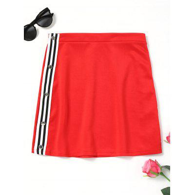 Side Button Up Letter Pattern Skirt