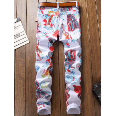 Print Straight Jeans Painting Leg Fly Zipper Cartoon xgnpq1wC