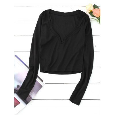 Buy BLACK S Slit Collar Cropped Knitted Top for $17.87 in GearBest store