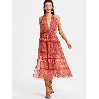 Buy RED L Printed Open Back Drawstring Maxi Dress for $25.54 in GearBest store
