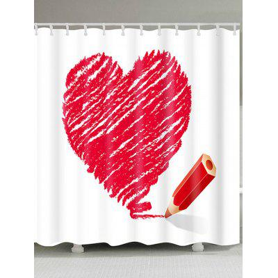Valentine's Day Heart and Pencil Printed Waterproof Shower Curtain