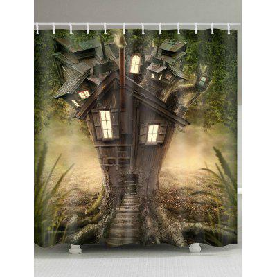 Rideau de douche en polyester imperméable Fantasy Tree House