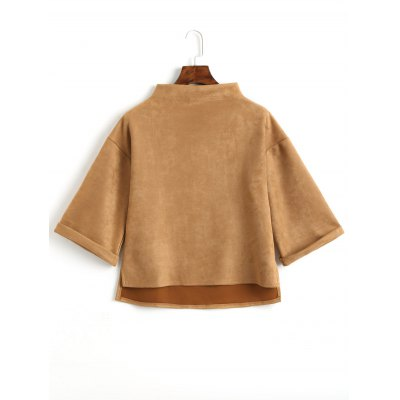 Faux Suede High Low Mock Neck Top