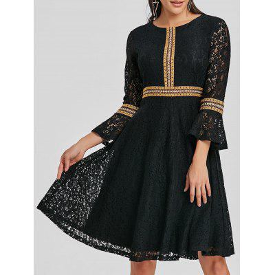 Bell Sleeve Embroidered Lace A Line Dress